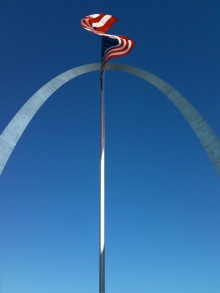 My Gravatar Photo, Lone American Flag Waving Under The Arch